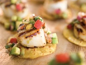 Great Summer Scallops with Avocado Cream and Salsa